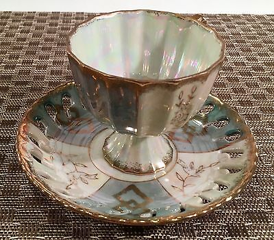 Vintage Enesco  Lusterware Footed Tea Cup & Saucer Set Green & Silver