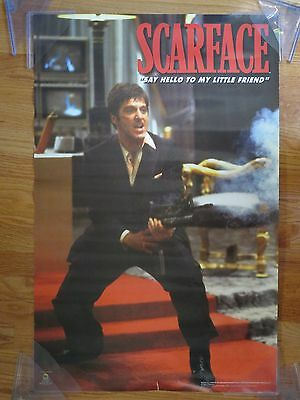 """Vintage SCARFACE """"Say Hello to my Little Friend"""" Poster Al Pacino"""