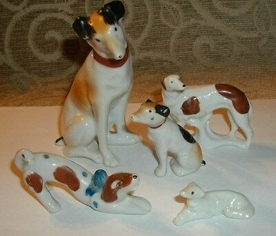 5 Vintage Greyhound Whippet Porcelain Dog Figurines Japan