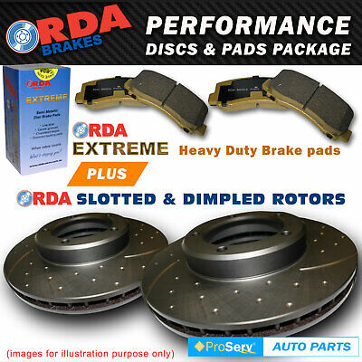 REAR SLOTTED DISC BRAKE ROTORS AND PADS NISSAN PATROL GU11 3.0 DDTi 2007-ON