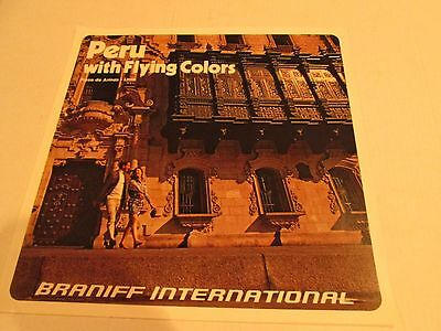 Vintage Braniff International Airlines Poster 1970s - Peru with Flying Colors