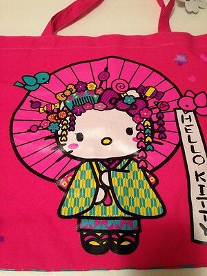 Sanrio Hello Kitty Rare Geisha Large Canvas Handled Tote Bag NWT 2012 Pink
