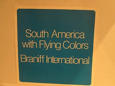 Vintage Braniff International Airlines Poster 1970s - South America