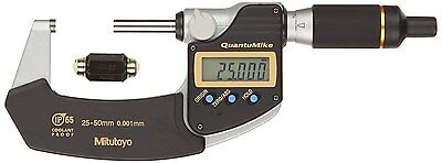 Mitutoyo 293-145 QuantuMike Coolant Proof LCD Micrometer, IP65, Ratchet Thimble