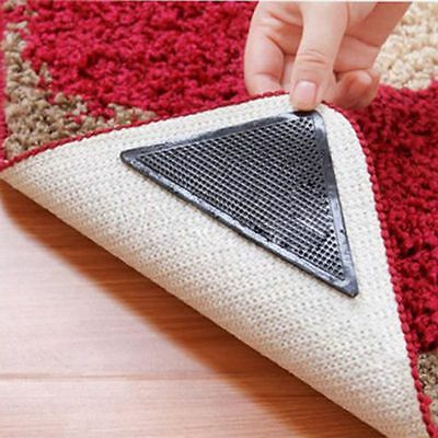 4X Reusable Non Slip Anti Skid Grip Washable Silicone Rug Carpet Mat Grippers