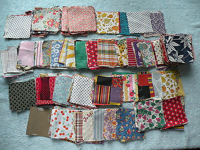 "LARGE LOT of 3 ½ x 3 ½"" VINTAGE QUILT SQUARES some feed sack - qb45"