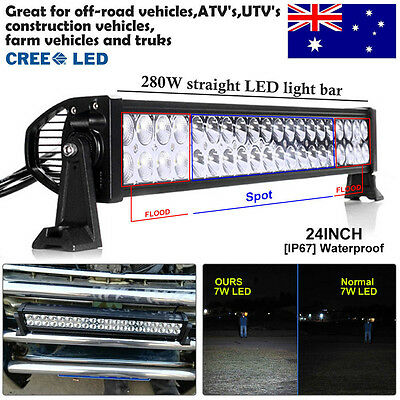 280W 24Inch CREE LED Work Light Bar Combo Offroad Driving Lamp Truck 4WD Jeep AU