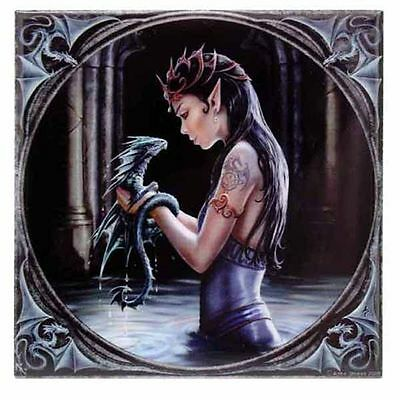 Anne Stokes Water Dragon Small Tile Collectible Art Tile - Tracked Post