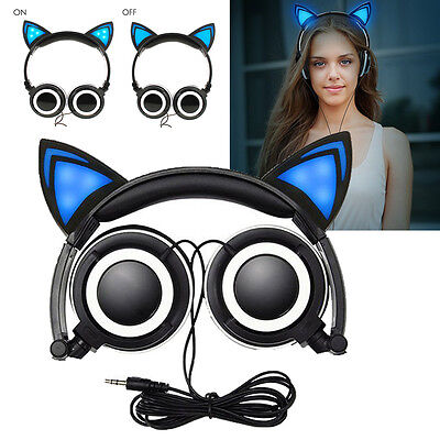 Foldable Cat Ear LED Music Lights Headphones Replacement Earphone for PC Phone