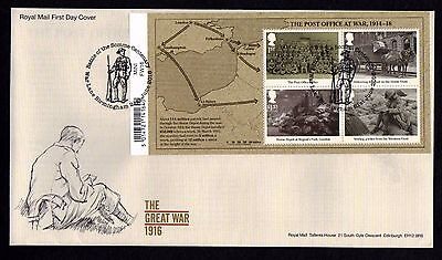 GB 2016 Royal Mail WW1 1916 M/S War Lane P/M First Day Cover Unaddressed