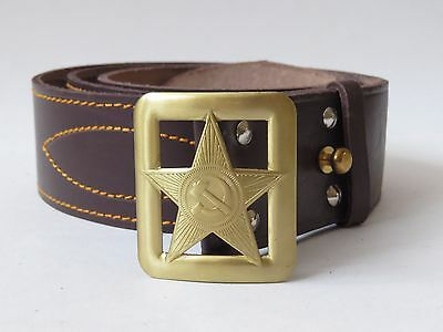 """The Russian officer's leather brown belt with stamped buckle """"Star"""". USSR. RKKA."""