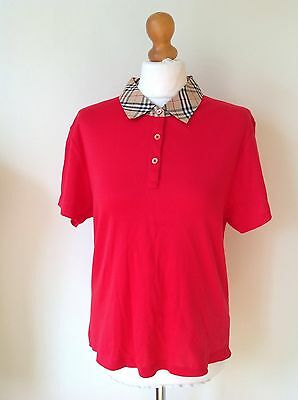 Burberry Golf Womans Red Polo Shirt Size Xl
