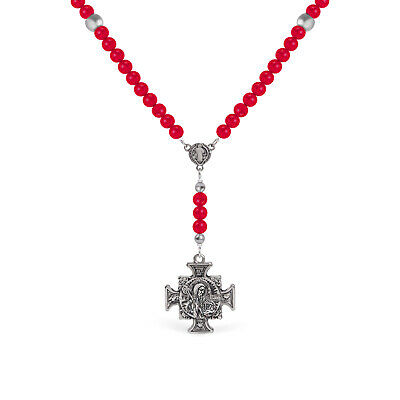 St Benedict Rosary for Women Catholic Necklace in Black Celtic Cross with Medal