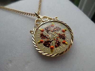 Vintage Enamelled Sixpence Coin 1934 Pendant & Necklace. Xmas / Birthday Present