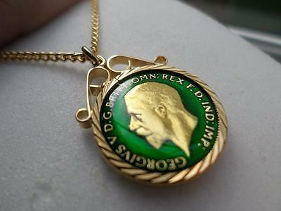 Vintage Enamelled Sixpence Coin 1930 Pendant & Necklace. Great Birthday Present