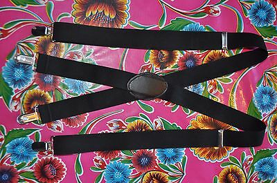 "Vintage black 1 1/4"" braces suspenders with silver clip fastening"