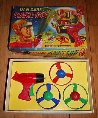 Vintage Merit Dan Dare Planet Space Toy Set 1953 Rare Boxed Spinning Missiles