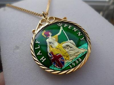 Vintage Enamelled Half Penny Coin 1933 Pendant & Necklace. Great Birthday Gift