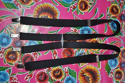 "Vintage black 1"" braces suspenders with silver clip fastening"