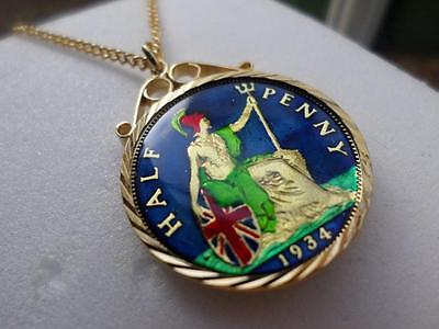Vintage Enamelled Half Penny Coin 1934 Pendant & Necklace. Great Birthday Gift