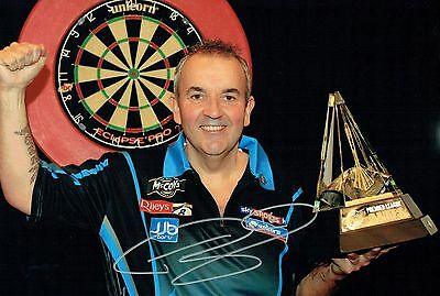 Phil The Power TAYLOR Signed Autograph 16 Darts Champion 12x8 Photo B AFTAL COA