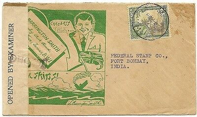 Jamaica 1943 censor cover with patriotic illustrated advert to India