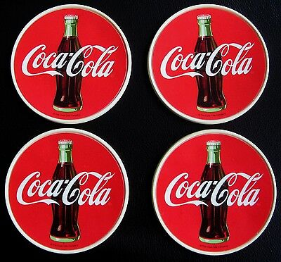 Coca Cola Plastic Coasters Set of Four 4 inch Made in the USA
