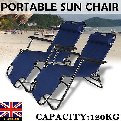 2Pcs Folding Reclining Garden Chair Outdoor Camping Armrest Beach Sun Lounger