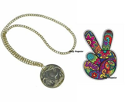 Hippie Hippy 60s 70s Gold Medallion Necklace Chain Peace Fancy Dress Costume New