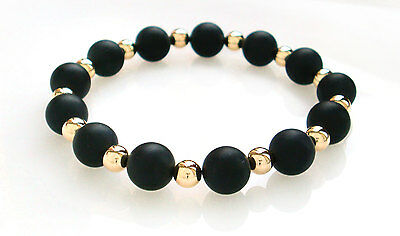 Men's Matt Black Onyx 9ct Gold Bead 8mm Stretch Bracelet - Matte