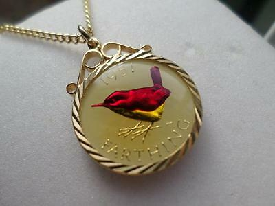 Vintage Enamelled Farthing Coin 1951 Pendant & Necklace. Great Birthday Gift