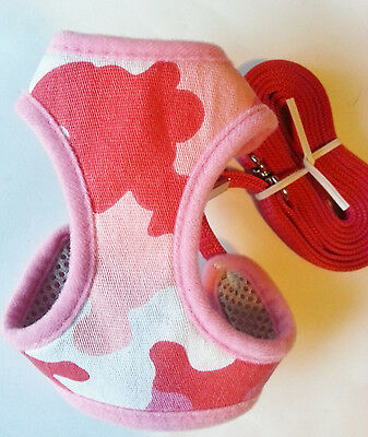 Cat Puppy Soft Harness Pink Multi With Thin Lead By Ancol Size Medium