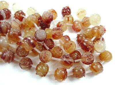 UKcheapest-10p carnelian double carved roses flower 14mm gemstone beads red