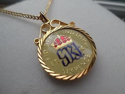Vintage Enamelled Sixpence Coin 1947 Pendant & Necklace. 70Th Birthday Gift