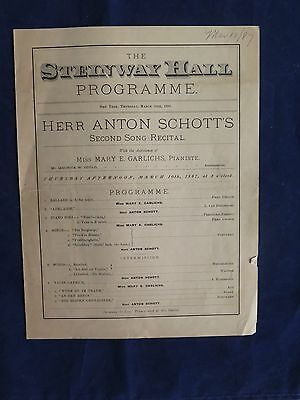 Steinway Hall Programme March 10, 1887 Performance by Herr Anton Schotts