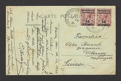 Morocco Agencies KGV 1 1/2d pair on MARRAKECH ppc used CASABLANCA to Switzerland
