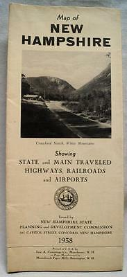 State Of New Hampshire Official Highway Road Map 1938 Vintage Travel