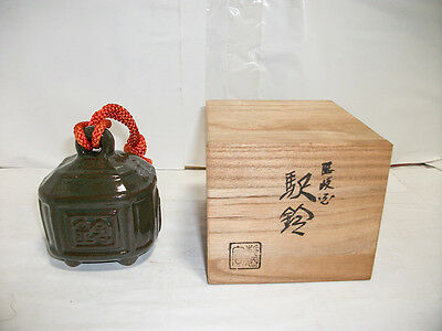 Japanese rare pottery bell antique vintage figurine ornament with wooden box