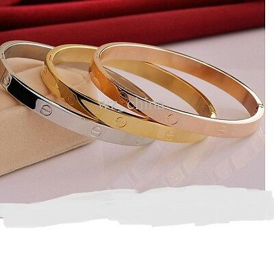 Silver/Gold/Rose Gold Plated Stone Set Love Bangle.