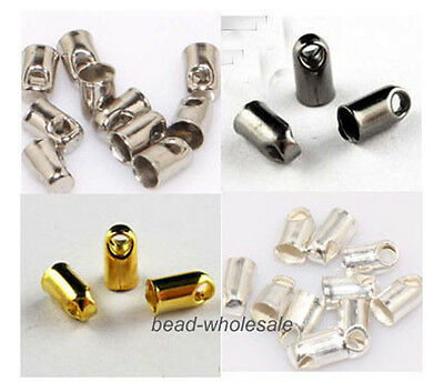300Pcs Silver/Gold/Dark Silver/Gun Black Crimps Tube End Beads Jewelry Findings