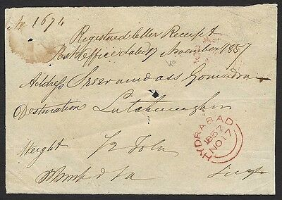 India Hyderabad red double arcs on 1857 ms registered letter receipt