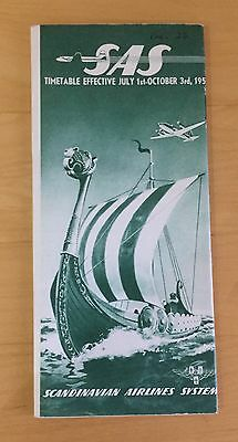 Original Scandinavian Airlines System SAS TimeTable 1st July –  October 3rd 1953