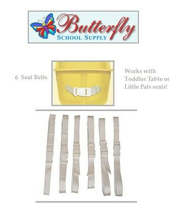 6 Toddler Table Replacement Seat Belts, Infant toddler table belts. White