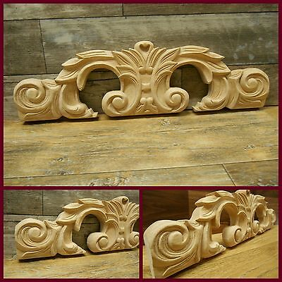 "Carved Wood  Onlay -Applique 17"" w x 5"" H x 1 1/18"" D- refSO2 pc"