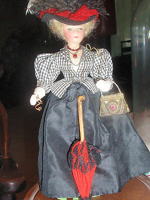 Fashion Wax? Head Doll in Turn of Century Full Detailed Outfit 8  inches tall