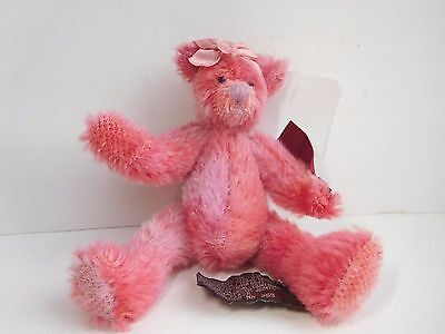 Russ Lim:Ed: pink mohair bear called Margaux (retired) all tags & button