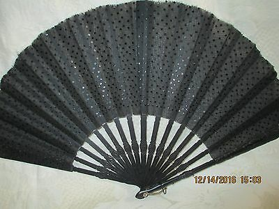 """Antique Victorian Folding Hand Fan~Black Organza With Sequins~10 1/2""""~Mourning"""