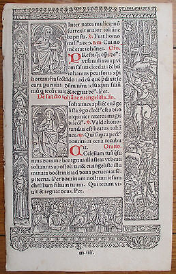 Book of Hours Leaf Hardouin Woodcut Border Peter Paul Hunting - 1510