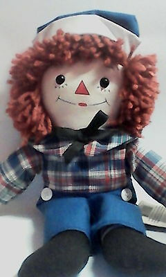"""Applause Raggedy Andy Two Sided Face Awake Asleep 1996 signed Kim Gruelle 12"""""""