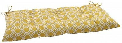 Pillow Perfect Outdoor/ Indoor Rossmere Yellow Wrought Iron Loveseat Cushion